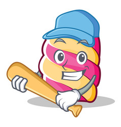 playing baseball marshmallow character cartoon vector image