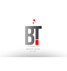 Red grey alphabet letter bt b t logo combination vector