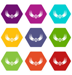 rider wing icons set 9 vector image