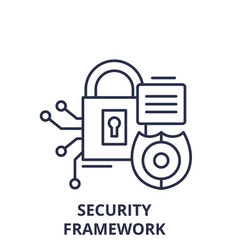 security framework line icon concept security vector image