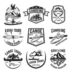 Set canoeing and kayaking tours emblems vector