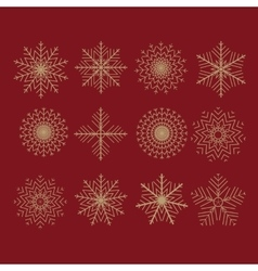 Set of 12 abstract snowflakes vector