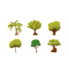 set of green trees natural landscape elements vector image