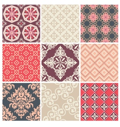 Set of nine colorful seamless patterns vector image