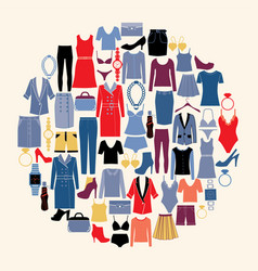 set of woman clothes and accessories in flat style vector image