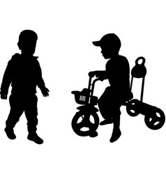 silhouettes of two toddlers vector image
