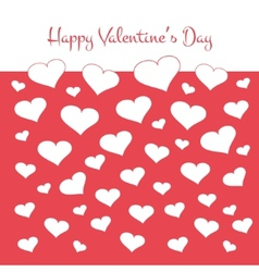 Simple valentines card with white hearts on red vector image