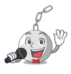 Singing wrecking ball isolated on a mascot vector