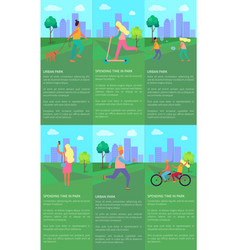 spending time in urban park set of posters vector image