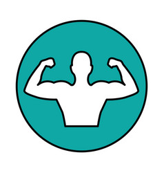strong man figure icon vector image