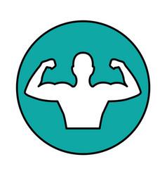 Strong man figure icon vector