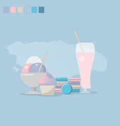 the concept of desserts is a gentle background vector image