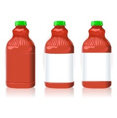 Three Red Plastic Bottles with Generic Labels vector