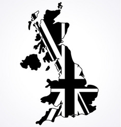 united kingdom great britain map with flag vector image