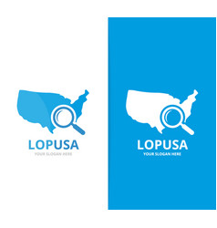 usa and loupe logo combination america vector image