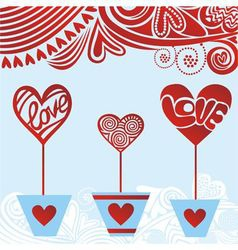 Valentines day card hearts love vector image
