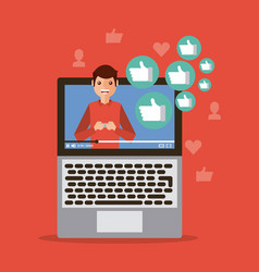 Viral content video influencer laptop digital vector
