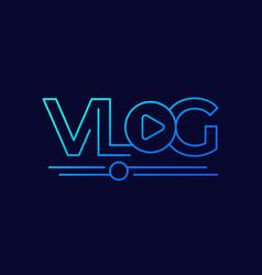Vlog line logo on dark vector