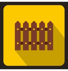 Wooden fence icon flat style vector