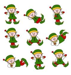 xmas cute elf set vector image