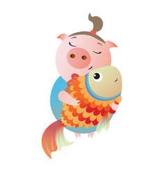 Zodiac pig pisces chinese horoscope symbol 2019 vector