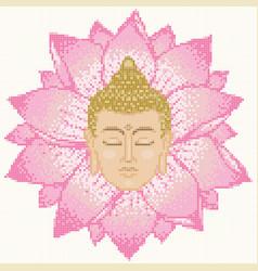buddha head and lotus mosaic vector image vector image