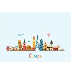 Europe skyline Travel and tourism background vector image vector image