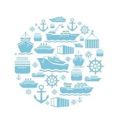 Ship and boat icons background transportation vector image vector image