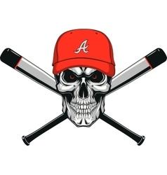 Skull baseball evil vector image