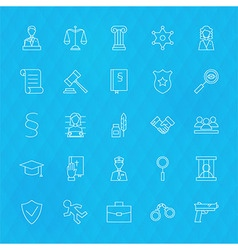 Law and Justice Line Icons Set over Polygonal vector image vector image