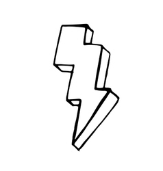 Lightning doodle icon stock hand drawn vector image vector image