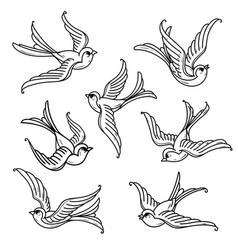 set of flying bluebirds free birdssymbol of hope vector image