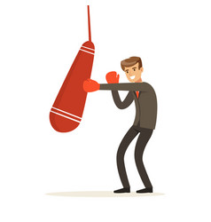 smiling businessman in boxing gloves hitting a vector image
