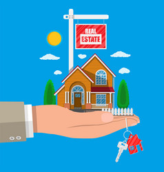 suburban family house set in hand vector image