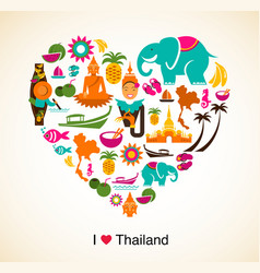 Thailand love - heart with thai icons and symbols vector image vector image