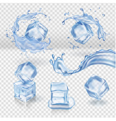 transparent water splash and ice cubes vector image vector image