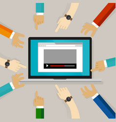 Video watching editing comment on internet hands vector
