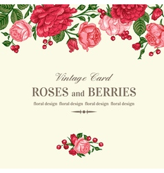 Vintage wedding invitation with pink and red roses vector