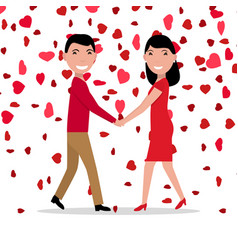 cartoon love couple falling red hearts vector image