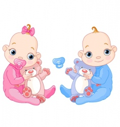 cute twins with toys vector image
