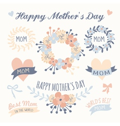 mothers day beautiful floral design elements set vector image vector image