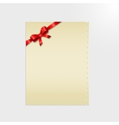 Shiny red satin ribbon on a paper vector image