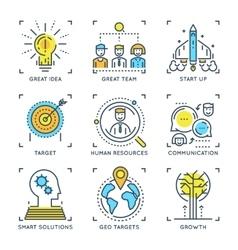 Business Elements Linear Concept vector image