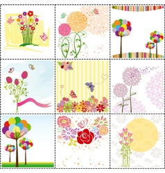 Flower cards vector