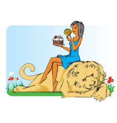 Girl with lion and cake vector image