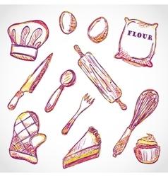 Kitchen accessories doodle vector image