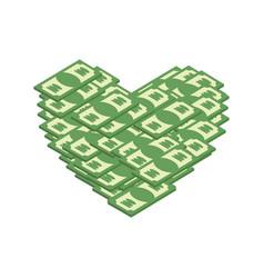 Money heart i love cash i like dollars vector