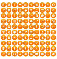 100 space technology icons set orange vector