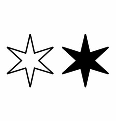 6 point star icons vector
