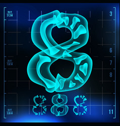 8 number eight roentgen x-ray font light vector image